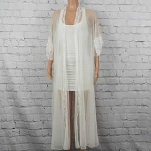 Val Mode lace trim open robe